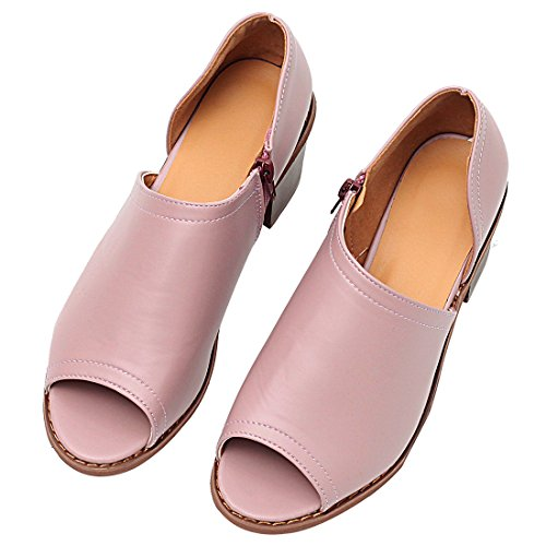 Ankle Heel peep Toe Low MORNISN Heeled Shoes Women's Cut Slip on Boots Purple Block Chunky Out Sandals xq8xSw