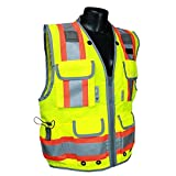Radians SV55-2ZGD-S Class 2 Heavy Woven Two Tone Engineer Safety Vest, Hi Viz Green, Small