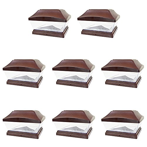 iGlow 8 Pack Brown 6 x 6 Solar Post Light SMD LED Deck Cap Square Fence Outdoor Garden Landscape PVC Vinyl Wood