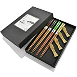 DineAsia CCH01/M Multicolored Japanese-Style Fish Pattern Reusable Sushi Chopsticks & Fish Shape Rests Complete Gift Set - Pack of 4