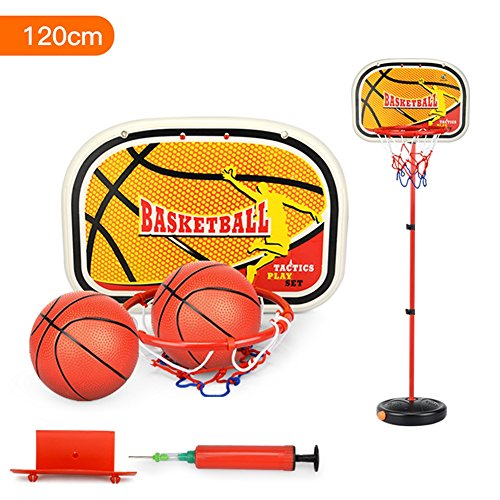 Qiyun Children Inside and Outside Portable Adjustable Basketball Backboard Stand Hoop Set with A Basketball
