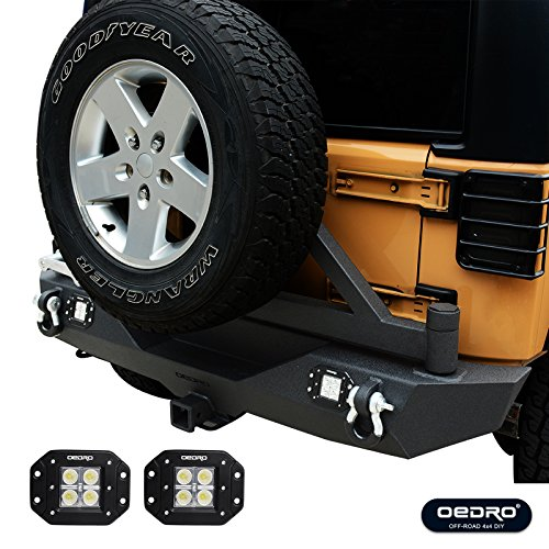 - oEdRo 07-18 Jeep Wrangler JK Rear Bumper Combo W/ 2x Square LED Lights,Tire Carrier and Third Brake Light Bracket, Unique STAR GUARDIAN Design, Upgraded Textured Black w/ 2