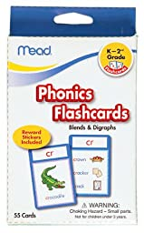 Mead Flashcards, Phonics, Grades K-2, 3.62 x 5.25 Inches, 55 Cards (63144)
