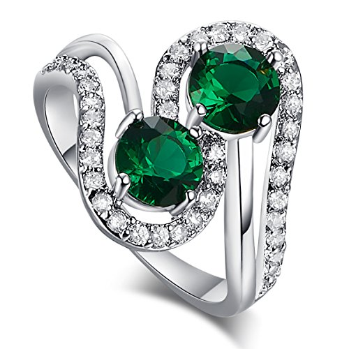 Psiroy 925 Sterling Silver Created Emerald Quartz Filled Bypass Band Anniversary (Date Quartz Ring)