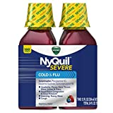 Vicks Nyquil SEVERE Cough Cold and Flu Nighttime Relief, Berry Liquid, 2 x 12 Fl Oz