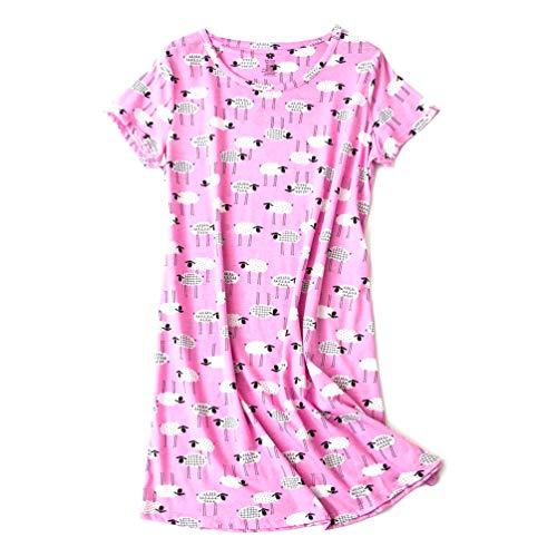 ENJOYNIGHT Womens Cotton Sleepwear Short Sleeves Print Sleepshirt Sleep Tee (sheep1, L/XL)