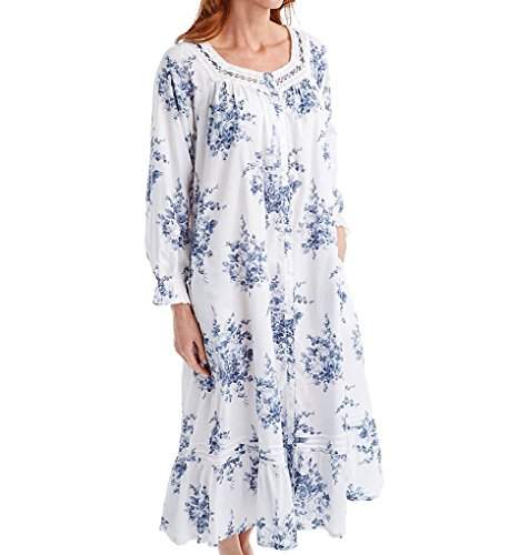 La Cera 100% Cotton Printed Floral Button Front Robe - Sizes S to 3X