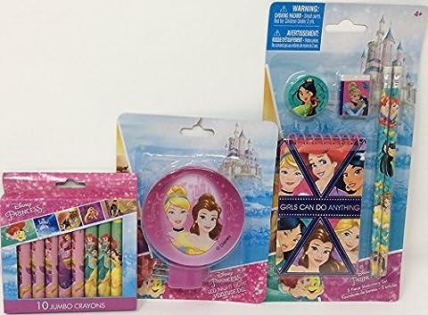 Back to School - Princess Toddler Pre-school Elementary School Supplies Crayon 5 Piece Stationary Sets Pencil Pouch Ruler Eraser Disney (Elsa Palace Throw)