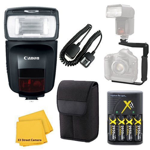 Canon Speedlite 470EX-AI Flash Accessory Bundle Kit + Flash Bracket + AA Battery Charger + TTL Cord + Flash Diffuser + Microfiber Cleaning Cloth for Canon EOS Rebel T6, T6i, T7i, SL2 by Canon