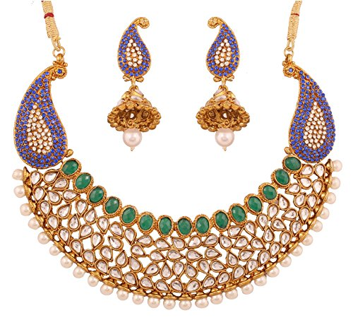Touchstone Indian Bollywood Exemplary Mughal era Inspired Kundan polki Look Faux Pearls/Emerald/Blue Sapphire Paisley Motif Bridal Designer hasli Necklace Set for Women in Antique Gold Tone