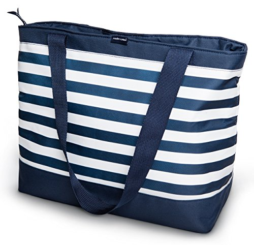 Freddie and Sebbie Collapsible Cooler Bag, Insulated Lunch Cooler, Perfect Size For The Beach, Picnic, Outdoor, Sports, Hiking, Camping or Grocery Cooler - Navy Blue & White (Water Proof Cooler Bag compare prices)