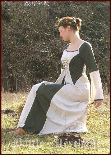grün Mittelalterkleid Leinen Battle Elena aus Merchant LARPkleid Baumwolle natur Ywg6qw