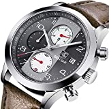 BENYAR Chronograph Waterproof Watches Business Leather Band Strap, Wrist Watch with Date For Men (Gray)