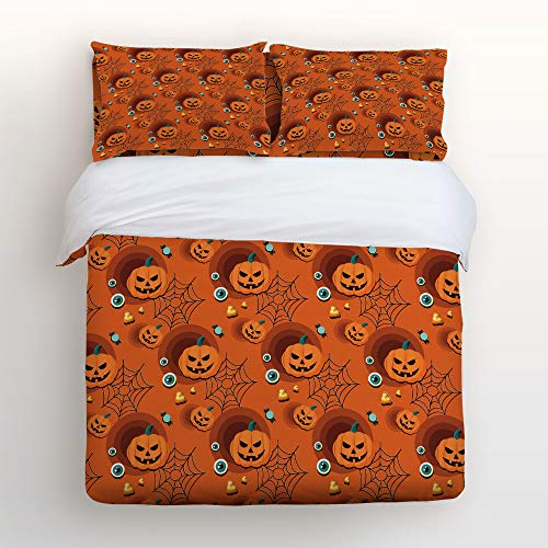 Art Decor Home Happy Halloween Pumpkin Spider Net Eyeballs Clipart 4 Piece Duvet Cover Bedding Sets 100% Polyester Fiber Comfortable Breathable Soft Material for Childrens/Kids/Teens/Adults King -