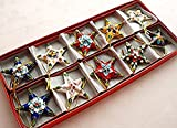 ARTIST Collectibles 10pcs Chinese Handmade Cloisonne Enamel Star Christmas Decoration Charms
