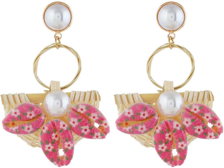 XAFXAL Pendientes De Mujer,Aretes Womens,Moda Mujer Hermosa Hand-Woven Semi-Circle Metal Y Concha Natural Pearl Pendant Pendientes Rosa