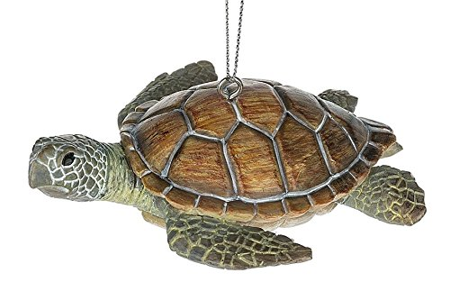 Sea Turtle Brown Shell Green Flippers Animal Ocean Beach Reptile Christmas Tree Ornament