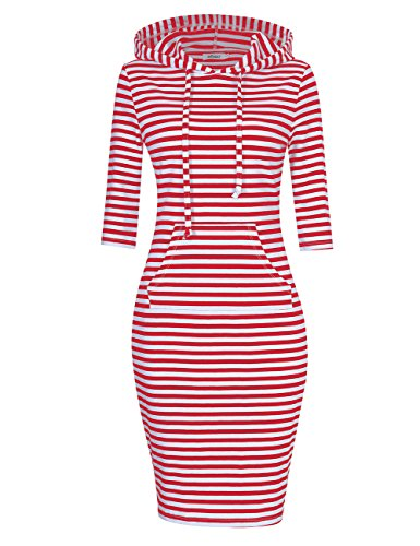 MISSKY Hoodies for Women Pullover Hoodie Striped Dress 3 4 Long Sleeve Dresses for Women Slim Pocket Sweatshirt Casual Dress (2XL, Red White)