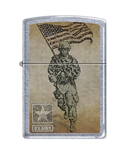 Zippo US Army Soldier with Flag Street Chrome Pocket Lighter