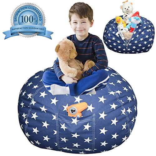Extra Large Stuffed Animal Storage Bean Bag Cover | Europe Made & Lab Tested Fabric | The Ultimate Storage Solution To Clean Up & Organize Kid's Room | Free E-Book (Unisex Navy Star) by DaMeru