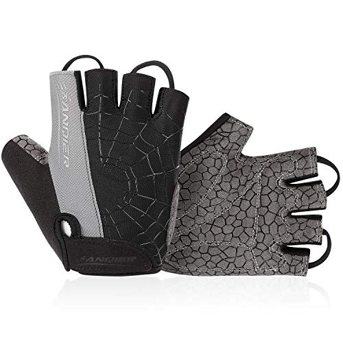 Lanyi Cycling Gloves Bike Gloves Mens Womens Shock-Absorbing Pad Anti-Slip Half Finger Weight Lifting Gloves Biking Gloves Workout Gloves Mountain Climbing Bicycle Exercise Gloves (Grey,L)