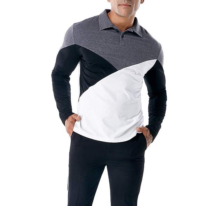 Camiseta Manga Larga Delgada Ocasional de los Hombres de la Moda Blusa Superior del músculo Poloshirt por Internet: Amazon.es: Ropa y accesorios