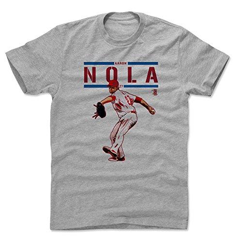 500 LEVEL Aaron Nola Cotton Shirt Large Heather Gray - Philadelphia Baseball Men's Apparel - Aaron Nola Play R
