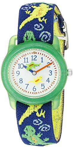 Timex Boys T72881 Time Machines Green Geckos Elastic Fabric Strap Watch
