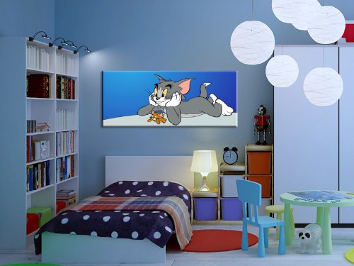 Tom und Jerry Kinderzimmer LeinwandBild Pop Art Gem/älde Kunstdrucke Bild fertig auf Keilrahmen Bilder f/ür Kinderzimmer 120x50cm k Deko Poster Babyzimmer Bilder zur Dekoration Wandbilder