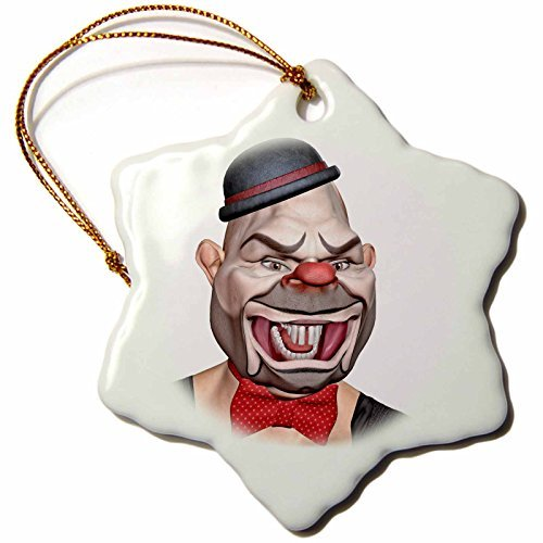 Boehm Graphics Holiday Halloween - A Killer Clown in Makeup with Long Teeth Looking to His Left - 3 inch Snowflake Porcelain Ornament (245582_1) -
