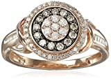 Pink Gold Plating over Sterling Silver White and Champagne Diamond Ring (1/2cttw, I-J Color, I2-I3 Clarity)