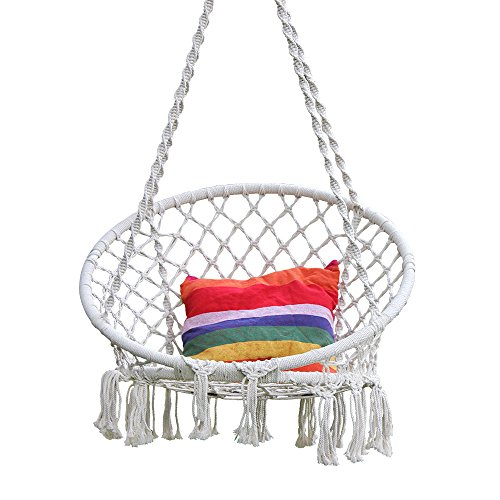 Hi Suyi Hanging Rope Hammock Lounger Chair Macrame Porch Swing for Indoor Outdoor Home Bedroom Patio Deck Yard Garden,Include Hooks No Ceiling Mount Set By by Hi Suyi