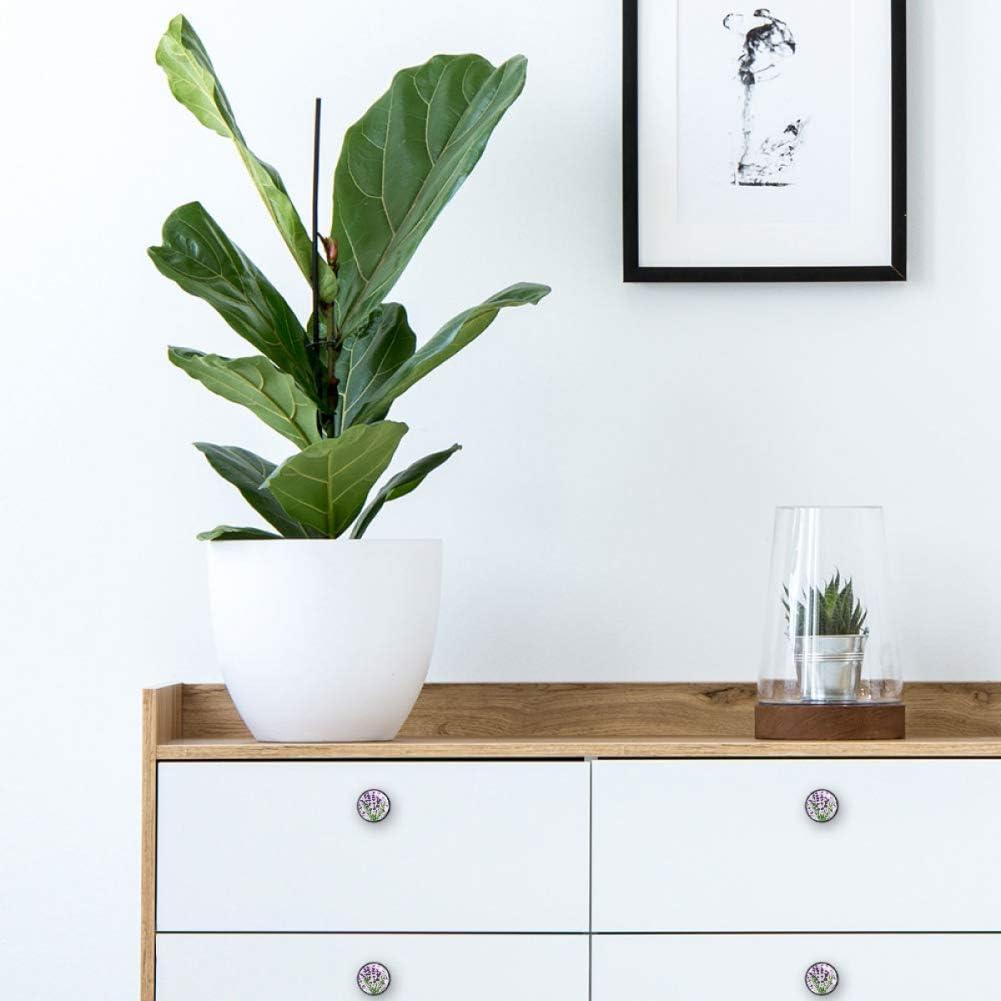 decoraci/ón del hogar para oficina pomos de armario con tornillos pomos para muebles flores de lavanda 4 pomos redondos para cajones cocina