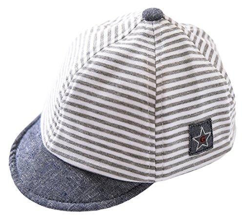 (GEMVIE Baby Boy Baseball Cap Infant Sun Protection Striped Hat Star Patch Cotton Soft Cap)