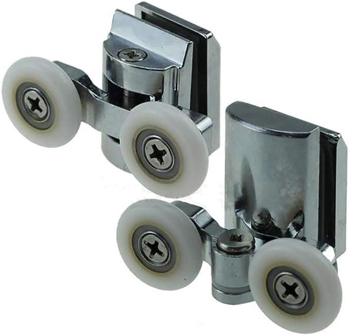 Weiyi0765 - Ruedas de Muelle para mampara de Ducha (23 mm/25 mm, 4 Unidades (2 Superiores + 2 Traseros) para la mayoría de los armarios de Ducha, cabinas de Ducha y cabinas