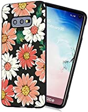 Amocase Black TPU Matte Case with 2 in 1 Stylus for Samsung Galaxy S10E,Stylish Artistic Design Soft Flexible Rubber Silicone Shockproof Anti-Scratch Back Case,Daisy Flower