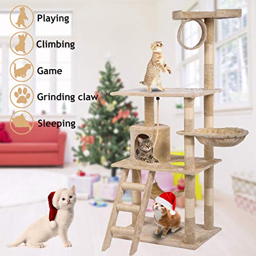 Dkeli Cat Tree Condo and Towers Activity Play Centre House with Scratching Post Hammock Basket 64