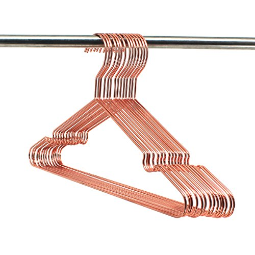 60Pack Koobay A17 Adult Rose Copper Gold Shiny Metal Wire Top Clothes Hangers for Shirts Coat Storage & Display