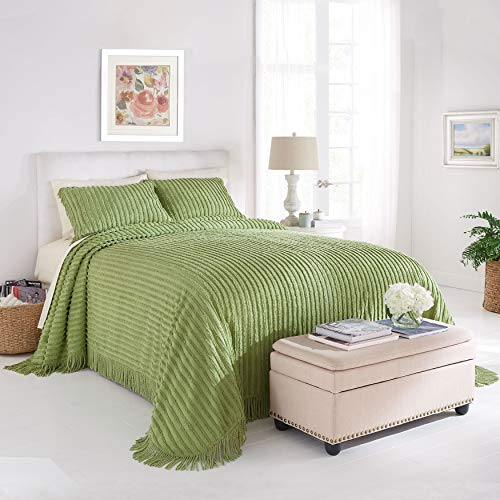 BrylaneHome Chenille Bedspread – Sage, King