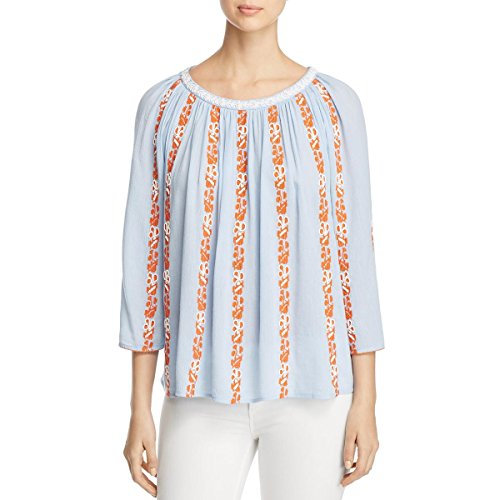 - Tory Burch Womens Alexandria Embroidered with Beads Peasant Top Blue 8