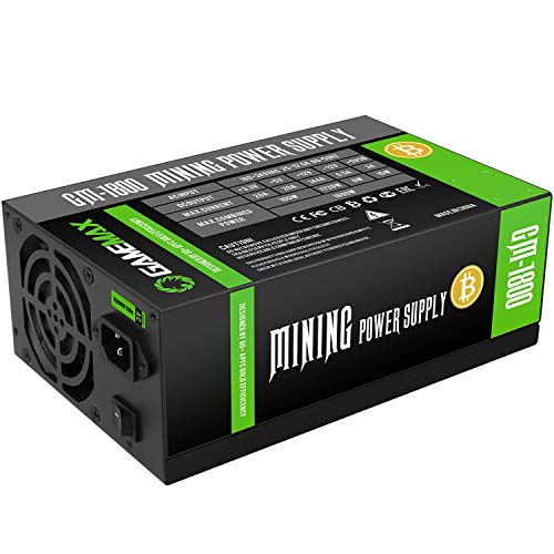 GameMax GM1800 1800w Power Supply, 90% Efficiency, Double 8cm Fan Intake and Exhaust, 9 Sata Cables, Power and Performance | Black