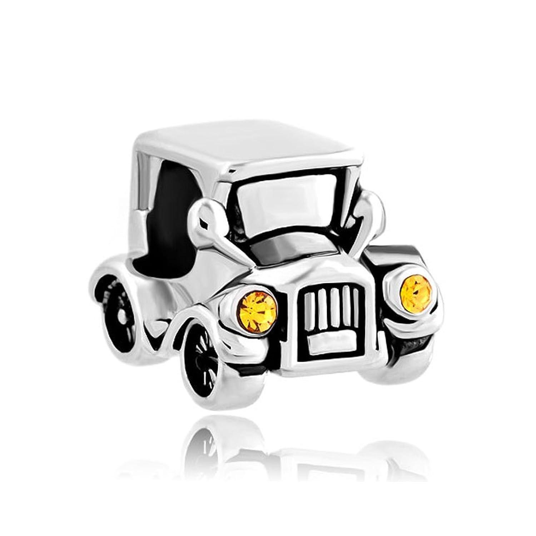 Charmsstory abalorio forma de coche vintage con faros delanteros de cristal amarillos