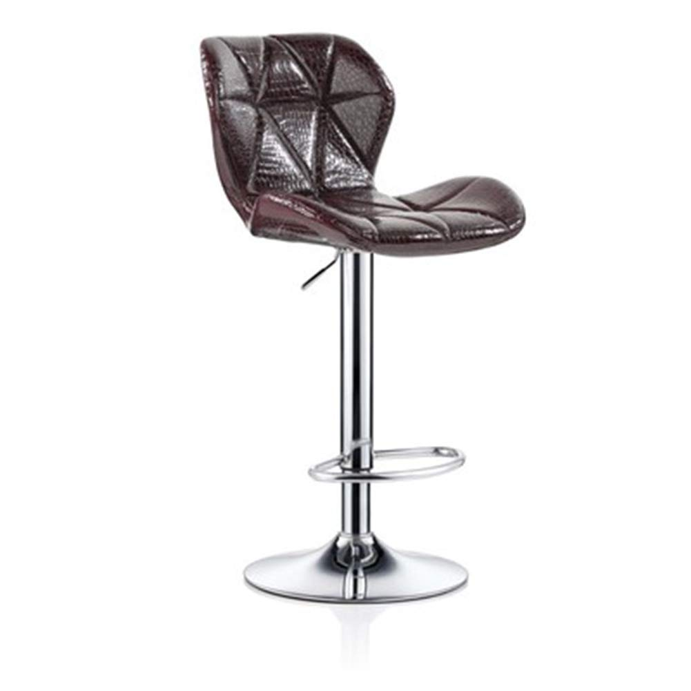 Wine red+PU 4860cm ZHAOYONGLI Barstools,Stools Kitchen Bar Stools Adjustable Breakfast Bar Stools Swivel Gas Lift Chrome Footrest and Large Base (color   Green+Imitation Cloth, Size   35  40cm)