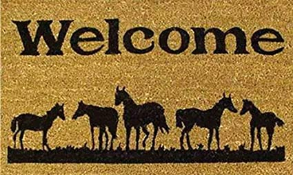 Home U0026 More 120291729 Horses Welcome Doormat, 17u0026quot; X 29u0026quot; ...
