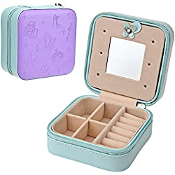 Goldwheat Small Jewelry Holder Box Travel Jewelry Box Organizer Case with Mirror and Zipper for Rings Earrings Necklace ,PU Leather Travel Display Storage Case (Purple)