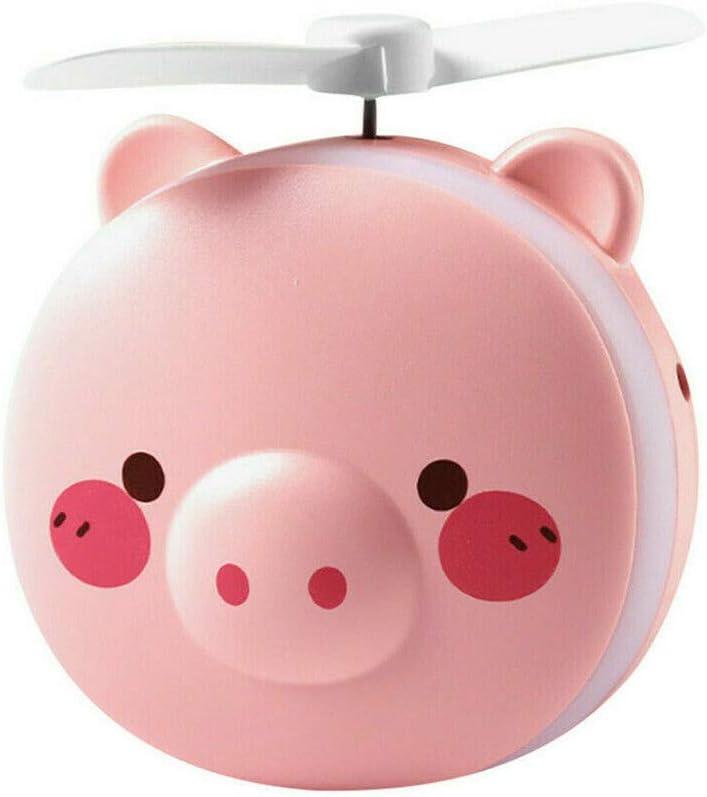 DishyKooker Cartoon Pig Lightweight Portable Office Summer LED Light USB Fan Handheld Rechargeable Cooling Makeup Mirror Round Eyes 006