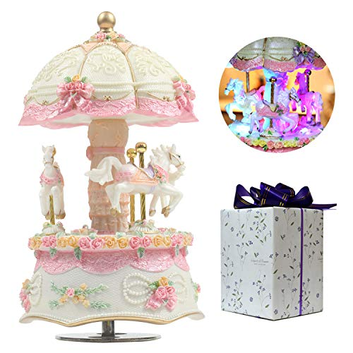ACCOCO Carousel Music Box Luxury Color Change LED Light Luminous Rotating 3-Horse Carousel Horse Music Box Melody Carrying You from Castle in The Sky(Castle in The Sky, White)