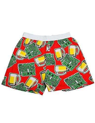 Fun Boxers - Mens Beer Wonderful Boxer Shorts, Red 37216-Small