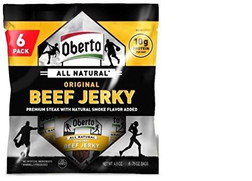 Oberto All Natural Original Beef Jerky, 6 Bag Multipack, ...
