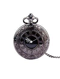 Relojes de Bolsillo Reloj de bolsillo esculpido clásico de números romanos Reloj de bolsillo de cuarzo vintage con cadena for hombres Mujeres Reloj con Cadena ( Color : Negro , tamaño : Un tamaño )